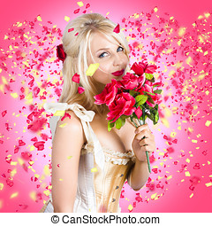 Sentimental lady with flowers Falling in love - Creative...