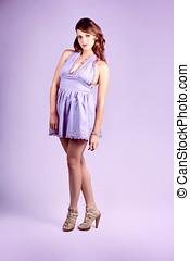 Pretty Brunette Pin Up Woman In Purple Dress - Full Body...