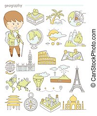 Geography and travel, teacher geographer Doodle style icons...
