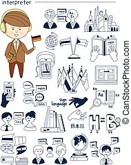 Interpreter, linguist, teacher, tutor Doodle style icons big...