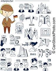 Interpreter, linguist, teacher, tutor Doodle style icons big...