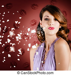 Beautiful young girl in love blowing lipstick kiss - Lovely...
