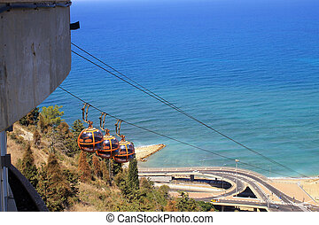 Haifa Cable Cars, Israel, aeral view of the Mount Carmel and...