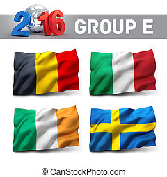 France 2016 qualifying group E with team flags. European...