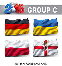 France 2016 qualifying group C with team flags. European...