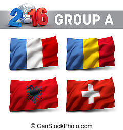 France 2016 qualifying group A with team flags. European...