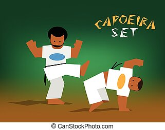 vector capoeira set - Color silhouettes capoeira fighting...