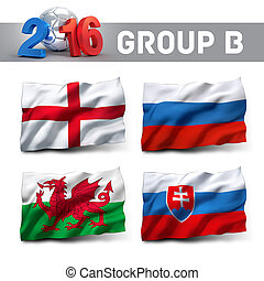 France 2016 qualifying group B with team flags. European...