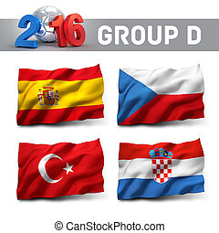 France 2016 qualifying group D with team flags. European...