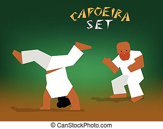 vector capoeira set - Capoeira fighting. Vector flat...