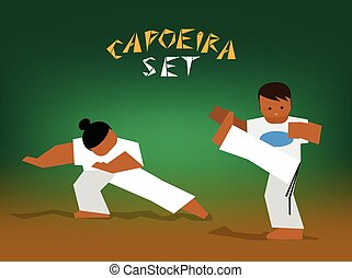 vector capoeira set - Capoeira fighting Vector flat...