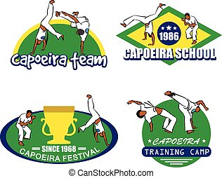 capoeira logo set - vector set of capoeira emblems and logos...
