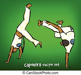 capoeira set - vector illustration of drawn brazilian...