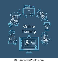 Webcast, E-learning and Online Event Outline Icon - Webcast,...