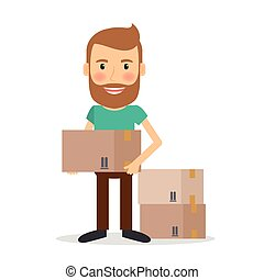 Moving house. Man lifting cardboard boxes vector...