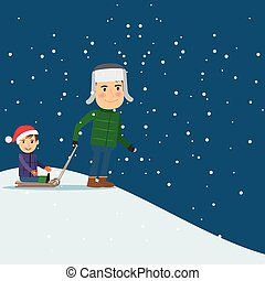 Happy winter time Dad and son sledding Vector illustration...