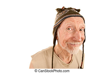 Smiling senior man in knit cap - Smiling senior man on white...