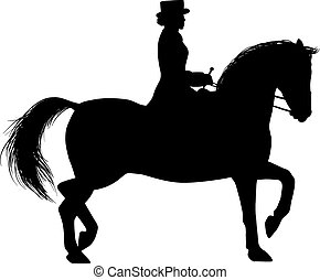 Silhouette of a Woman on horseback - woman rider in a hat...