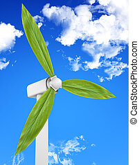 Natural Energy - Wind turbine with leaves producing energy...