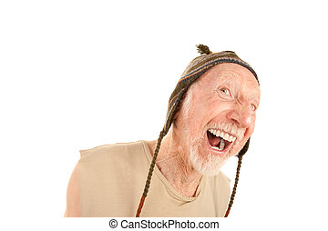 Laughing senior man in knit cap - Laughing senior man on...