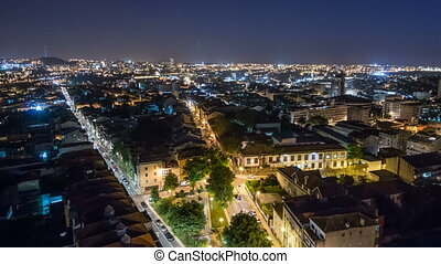 Rooftops of Porto's old town on spring night timelapse after...
