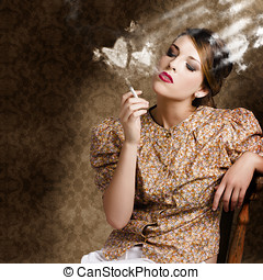 Pinup portrait of a smoking woman blowing hearts - Sexy...