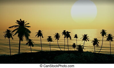 (1054) Tropical Island Sunset Palm Trees Ocean Waves...