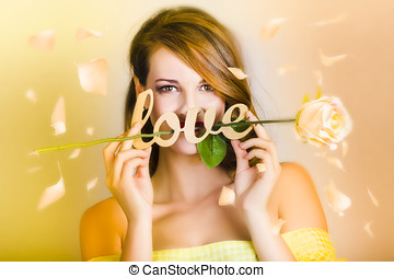 Young beautiful woman expressing feelings of love - Young...