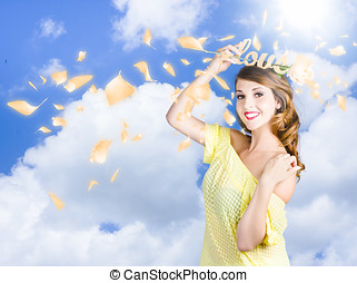 Romantic woman dreaming of a sky filled romance - Attractive...