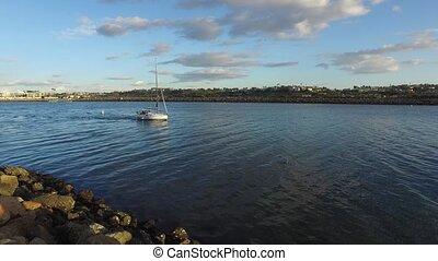 Sailboat Leaving the Marina - Sailboat Leaving Marina del...
