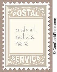 Postal Stamp Shape Blank Placard - Vector Illustration of...
