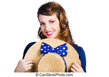 Pinup girl with straw hat - Pinup girl smiling broadly...