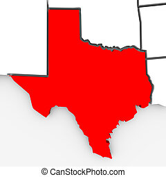 Texas Sate Map - 3d Illustration - A 3d rendered map of the...