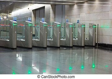 Turnstiles on an entrance to the subway, Moscow