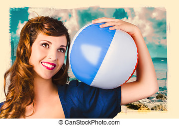 Vintage 1950 era pin-up woman with beach ball - Smiling...