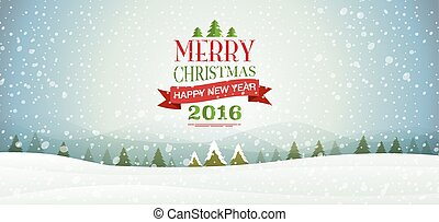 merry Christmas & happy new year 2016, Type, snowflakes,...