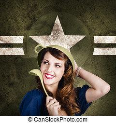 Cute military pin-up woman on army star background - Vintage...