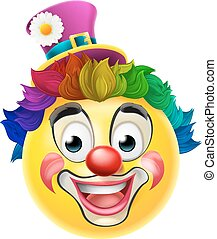 Clown Emoji Emoticon - A clown cartoon emoji emoticon smiley...