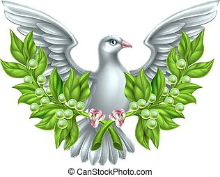 Peace Olive Branch Dove - Dove holding crossed olive...