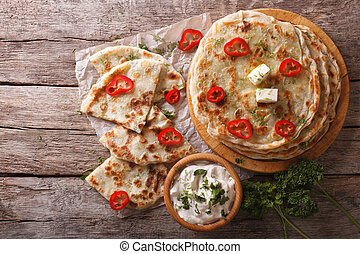 Indian paratha stuffed with potatoes. horizontal top view -...