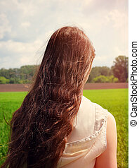 Girl in the Field - Toned photo of Teenage Girl at the...