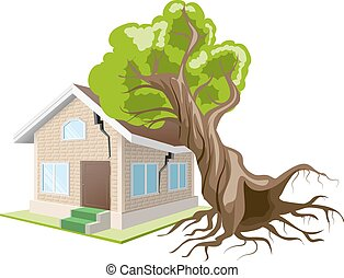 Tree fell on house Home insurance Isolated illustration in...