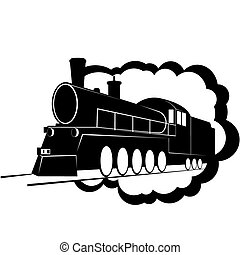Old steam locomotive - Abstract image of an old railway...
