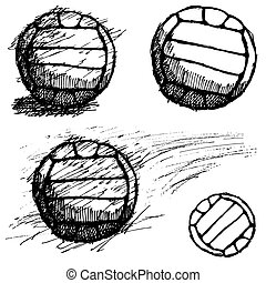 Volleyball ball sketch set isolated