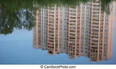 Building reflected in the water