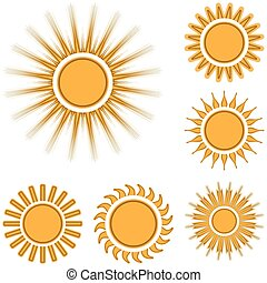 Different sun icons set isolated