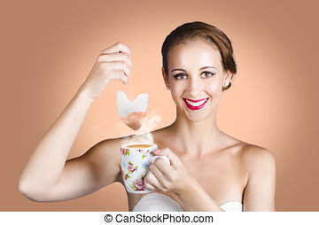 Happy Beautiful Pin Up Girl Drinking Tea Or Coffee - Classy...