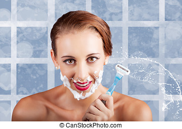 Beauty Woman In Bathroom With Skincare Products - Funny...