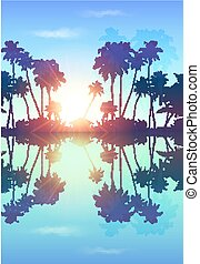 Blue skypalms silhouettes with reflection