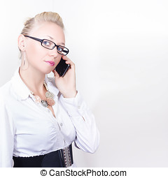 Business Woman Networking On Corporate Phone Call - Smart...